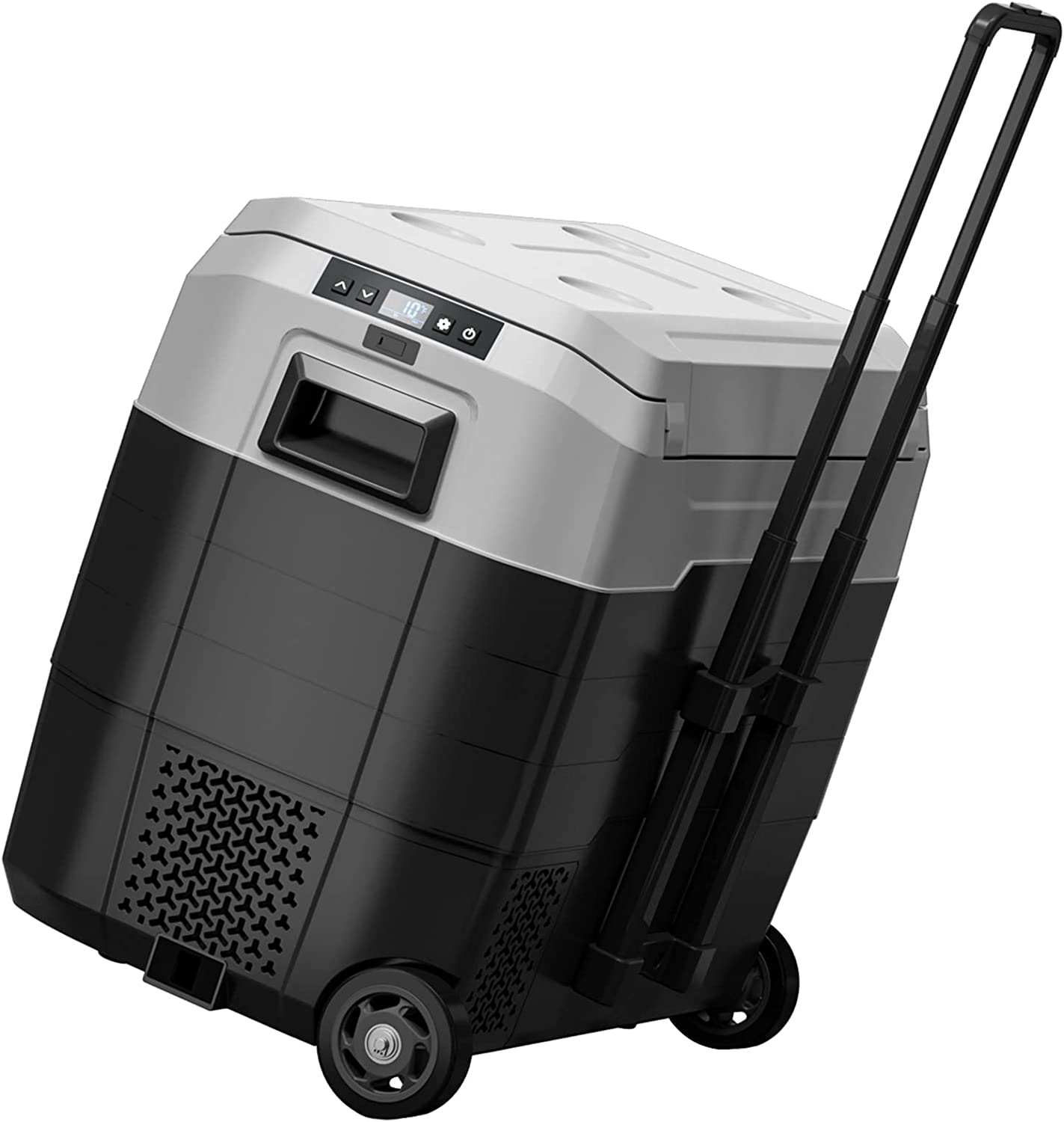 Portable Car Freezer with Wheels, 52 Quart Car Refrigerator with Telescopic Handle, -4°F~50°F 12V/24V RV Fridge Cooler Compact Compressor Fast Cooling,Indoor Outdoor Use for Car,Truck,Camping,Home: Automotive