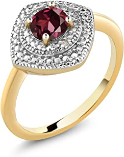 Gem Stone King Red Rhodolite Garnet and Accent Diamond 18K Yellow Gold Plated Silver Women's Ring 0.60 cttw (Available 5,6,7,8,9)