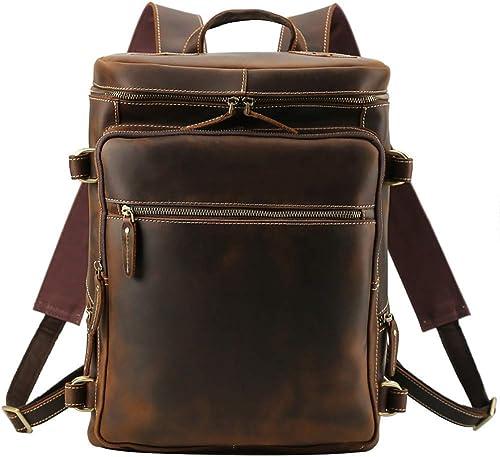 Briefcase Home Herrenrucksack Größe Kapazit 16 Computer Tasche Kopf Lederreiserucksack