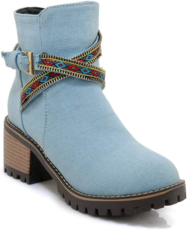 Women's Denim Retro Ankle Boots,Round Toe Block Chunky Heel Martin Booties,Side Zipper Knight Boots