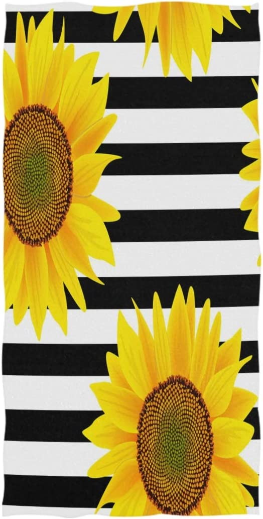 AGONA Sunflowers On Striped Black White Hand Towels Absorbent Soft Face Towels Large Decorative Bath Towels Multipurpose for Bathroom Kitchen Gym Yoga 30