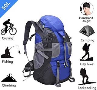 Hiking Mountaineering Trekking Backpack Tactical Bag 50L Large Capacity Multi Pocket Waterproof for Outdoor Backpacking Climbing Camping Cycling Fishing Traveling Blue