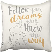 Emvency Decorative Throw Pillow Cover Square Size 16x16 Inches Dumbo Follow Your Dreams Pillowcase with Hidden Zipper Deco...
