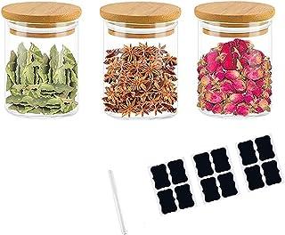 Annfly Lot de 3 bocaux en verre avec couvercles en bambou hermétiques pour aliments et céréales (3 autocollants et stylo) ...