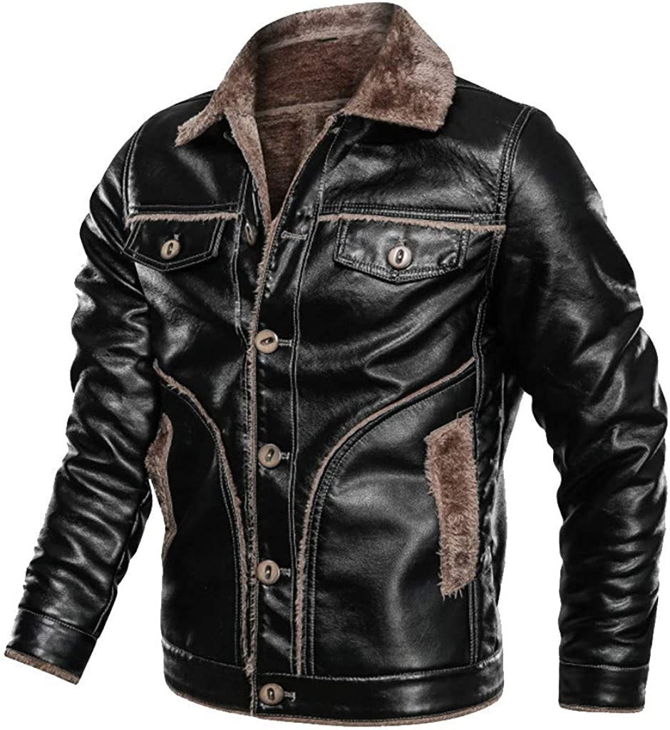 acction Men's Black Brown Lapel Thick Warm PU Faux Leather Zip-Up Jacket Solid Imitation Leather Coat