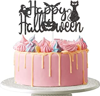 Happy Halloween Cake Topper - Halloween Ghost Bat Pumpkin Cat Scary Theme Party Decoration, Trick or Treat, Happy Boo Day,...