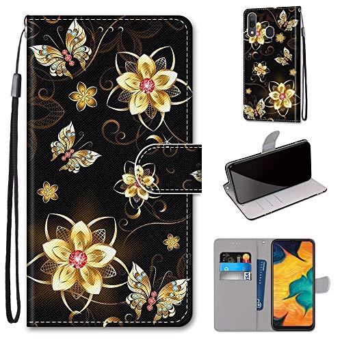 Miagon Flip PU Leder Schutzhülle für Samsung Galaxy A20/30,Bunt Muster Hülle Brieftasche Case Cover Ständer mit Kartenfächer Trageschlaufe,Diamant Schmetterling