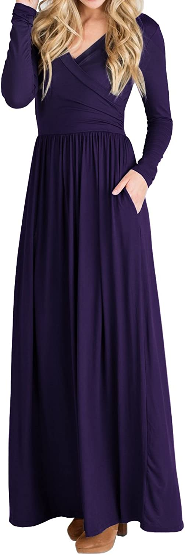 Beautife Women's Dresses Casual Long Sleeve V Neck Faux Wrap Loose Plain Maxi Dress With Pockets