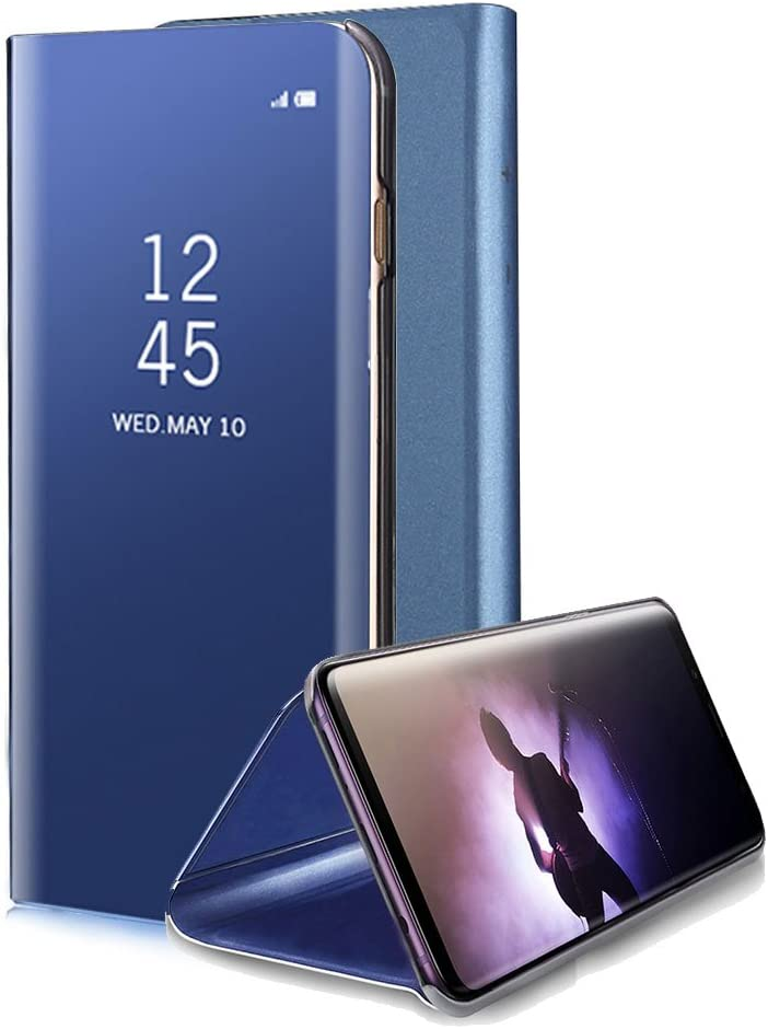 for Samsung Galaxy Note 8 Mirror Case, Aearl Plating PC Smart Clear View Window Flip Standing Cover Full Body Protective Bumper Shell with Screen Protector Kickstand for Samsung Galaxy Note 8 - Blue