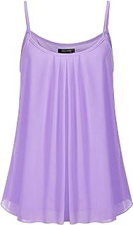 SSOULM Women's Sleeveless Pleated Chiffon Layered Cami Tank Top Blouse with Plus Size