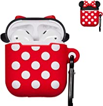 Punswan for Airpods 1 & 2 Charging Case,3D Cute Silicone Cartoon Airpod Charging Dock Cover,Character Design Air pod Girls Kids Women Soft Full Protective Skin Cases Carabiner Keychain(Minnie Mouse)