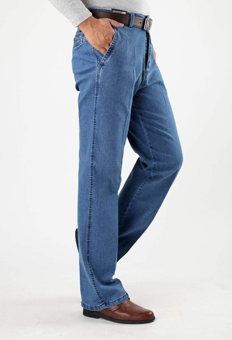 Hoonmis Taille 30-45 Hommes Business Jeans Classic Male Stretch Jeans Plus Size Baggy Straight Men Denim Pants Cotton Blue Work Jeans Men 37 Light Blue