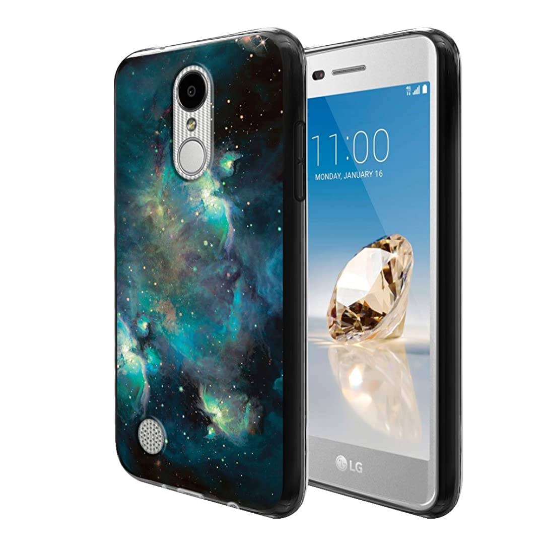 FINCIBO Case Compatible with LG Aristo MS210 LV3 K8 2017 Phoenix 3 M150 Fortune, Flexible TPU Black Soft Gel Skin Protector Cover Case for LG Aristo MS210 (NOT FIT K8 2016) - Blue Sky Galaxy Nebula