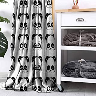 FOEYESEE Blanket Cute Panda Face Expressions Cartoon Picture Smiling Crying Surprised Kids Decor Pattern Black White Bedroom Dorm Sofa Nursery Crate W63 xL63