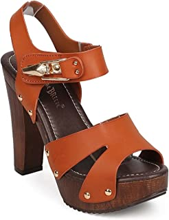 Women's Chunky Platform Clog Heeled Sandal Two Tone Rhinestone Sling Back Stud Decor Open Toe Summer Shoes VT02
