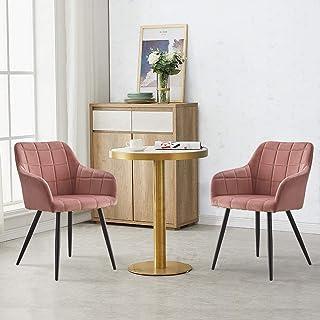 OFCASA Lot de 2 chaises de salle à manger rembourrées en velours avec accoudoirs et pieds en métal pour la maison, le rest...