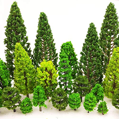 MOMOONNON 36 Pieces Model Trees 1.36-6 inch Mixed Model Tree Train Scenery Architecture Trees Fake Trees for DIY Crafts  Building Model  Scenery Landscape Natural Green
