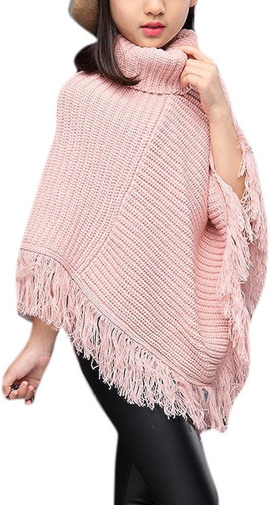 Girls Fall High Neck Knitted Poncho Tassel Draped Cloak Cape Sweater Soft Irregular Hem Top