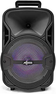 Axess 8'' Portable Bluetooth Speaker with Woofer & Tweeter – HD Sound System for Parties with Built-in LED Lights – Wireless PA Speaker USB, TF Card, Aux, FM & Mic Supported – Model # PABT6052