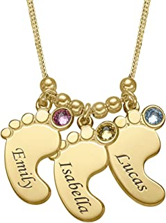 Personalized Engraved Baby Feet Name Necklace with Swarovski Crystals- Mom Christmas Jewelry Gift
