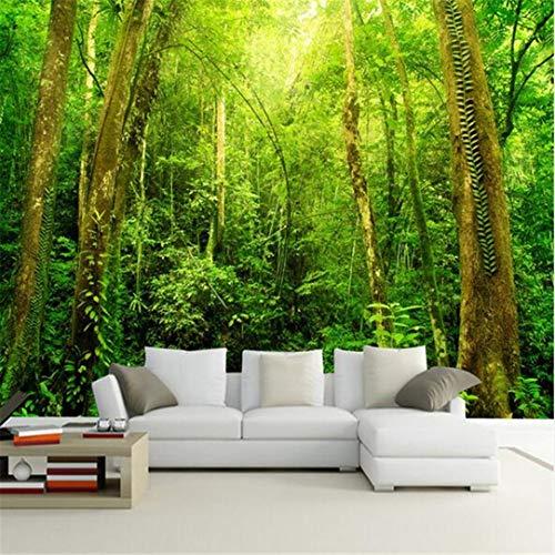 3D behang muurschildering vliesstof aangepaste Elke grootte 3D muurschildering behang zonlicht bos boom landschap wanddecoraties woonkamer slaapkamer wooncultuur behang 250 cm x 175 cm.