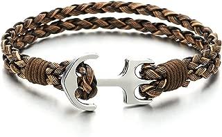 Pulsera de marinero para hombre y mujeres, cuero trenzado con dos vueltas, marinero