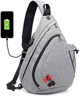 Men's Large Capacity Chest Bag, Black Camouflage Shoulder Bag, USB Charging Socket Messenger Shoulder Bag,Gray