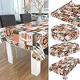 ANRO Wachstuch Tischdecke abwaschbar Wachstuchtischdecke Wachstischdecke BBQ Grill Garten Rot Oval 200x140cm - 5