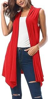 Donne Senza Maniche di Colore Solido Asimmetrico Irregolare Orlo Drappeggiato Anteriore Aperto Cardigan