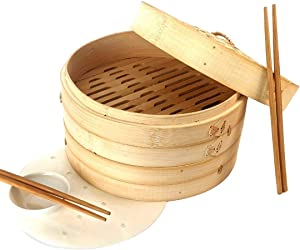 Bamboo Steamer 10 inch with 20 liners, Steamer Basket, Dumpling Steamer, Bamboo Steamer Basket, Steam Basket, Steamer Cooking, Dim Sum Steamer, Bao Bun Steamer, Dumpling Steamer Basket, Bamboo Basket
