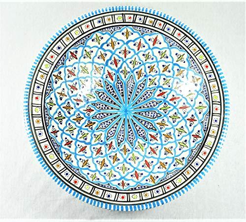 Mystery Souk Handgemachte und handbemalte authentische marokkanische Teller mit schönen bunten arabischen Dekorationen (türkis)