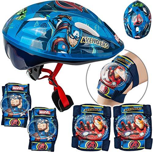 alles-meine.de GmbH 5 TLG. Set: - Sicherheitsset - Kinderhelm / Fahrradhelm - Avengers - Gr. 52 - 56 - Circa 3 bis 15 Jahre - Größen verstellbar / mitwachsend - TÜV geprüft - Hel..
