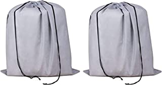 2 Piece Non-woven Breathable Dust-proof Drawstring Handbags Storage Pouch (gray)
