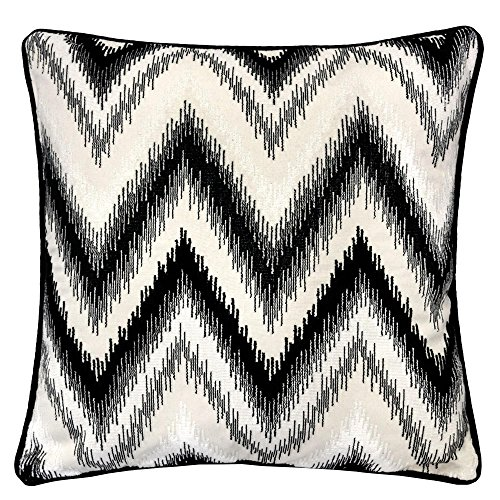 Homey Cozy Embroidery Throw Pillow Cover,Black Series Zig Zag Liner Velvet Large Sofa Couch Pillow Sham,20x20 Cover Only