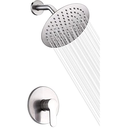 Kes Rain Shower Head Shower Faucets Sets Complete Shower Valve And Trim Kit Wall Mount Brushed Nickel Pressure Balance Shower System Xb6202 Bn