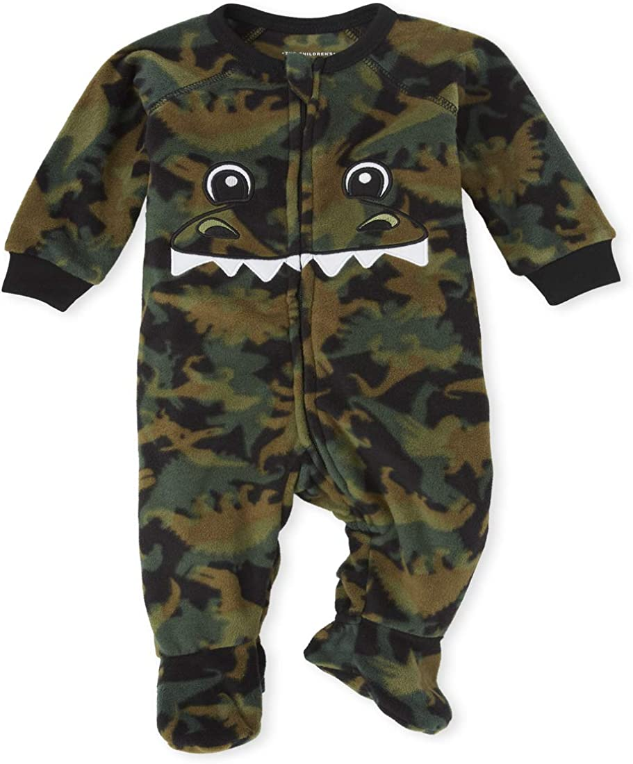 The Children's Place Boys' Unisex Baby and Toddler Matching Family Dino Fleece One Piece Pajamas