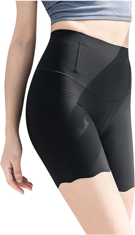 Women's Ice Silk High Waist Buttocks Belly-up Pants Body Shaper Butt Lifter 5-Point Light Proof Leggings