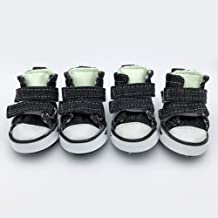 PetFavorites Pet Dog Puppy Running Shoes Outdoor Boots Nonslip Booties Canvas Sneaker for Small to Large Dogs Teacup Chihuahua Yorkie with Velcro and Glow in The Dark, Black, Pack of 4.