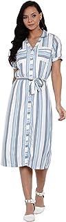 Latin Quarters Women Yarn Dyed Stripe Yarn Dyed Half Sleeve Stitching Dress