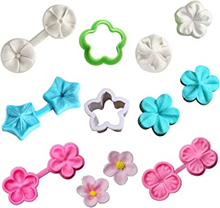 KALAIEN Flower Cupcake Toppers Silicone Fondant Cake Mold Chocolate Icing Candy Decorating Mould Sugar Craft Tools 8Pcs