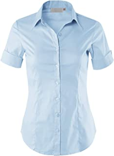 MAYSIX APPAREL Short Sleeve Stretchy Button Down Collar Office Formal Casual Shirt Blouse for Women Fit (XS-3XL)