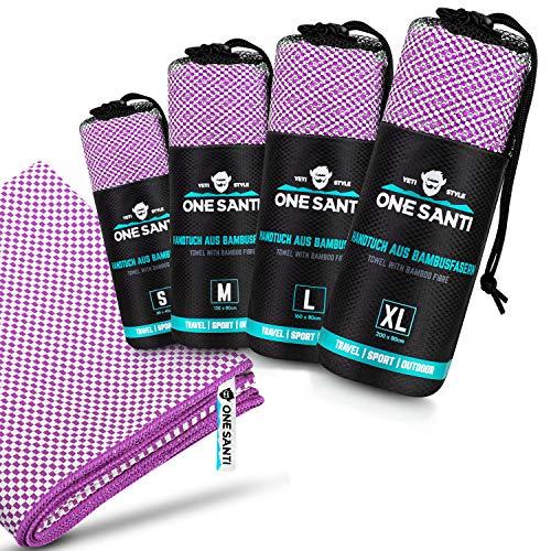 ONE SANTI Reisehandtuch - Unsere Bambus Handtücher als Top Backpacker Zubehör - Reisehandtuch schnelltrocknend & kompakt - Travel Towel (Violett S)