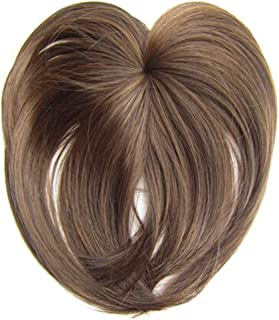 ZaRoing Silky Clip-On Hair Topper Wig, Heat Resistant Fiber Hair Extension for Women, Hair Crown Toppers for Women Clip, Human Hair Straight Hair Piece, Silk Base Toupee with Thinning Hair