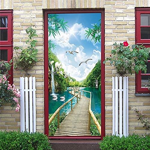 DFKJ Etiqueta de la Puerta Autoadhesivo Renovación Mural Impermeable Retro Metal Gear Print Art Picture Nueva decoración del hogar Dormitorio Renovación A2 86x200cm