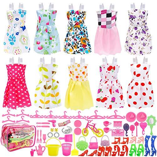 ONEONEY Total 66pcs - 10 Pack Puppenkleidung Party Kleid Outfits + 55pcs Puppen Zubehör Schuhe Taschen Halskette Spiegel Aufhänger Geschirr für Barbie Doll Girl Geburtstagsgeschenk