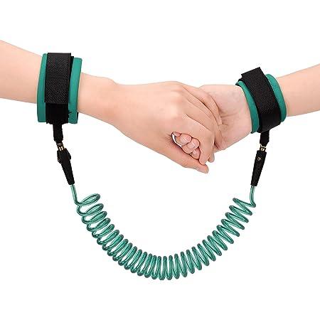 2.5M Anti-perdu Enfant Barcelet,Laisse Enfant Poignet de 360 ° Rotation Harnais de Sécurité, Bracelet anti-perte confortable pour bébé, Vert