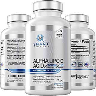 Alpha Lipoic Acid 600mg Per Serving, 240 Vegan Capsules- Pharmaceutical Grade, Gluten Free, Pure Non-GMO ALA- Supports Hea...