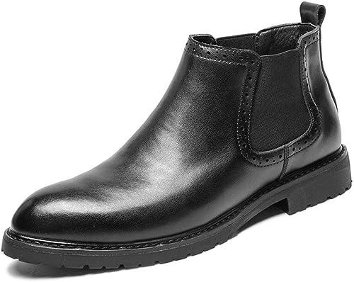 Henxizucun Bottes pour Hommes Chelsea Hommes Noir Décontracté Bottines Bottes Chaussures Confortables Chaussures de Travail pour Le Mariage Slip Chaussures à Talons Plats