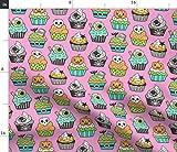 Spoonflower Stoff – Halloween Herbst Cupcakes grün mint