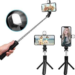 自撮り棒 iphone Android セルカ棒 Bluetooth 無線 三段補光ライト スマホ セルカ棒 LED補助光機能 三脚/一脚兼用 一体化 小型 iphone6 s/iphone7/iphone8/iphone8 plus/ipho...